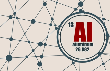 atomic symbol: Aluminum chemical element. Sign with atomic number and atomic weight. Chemical element of periodic table. Molecule And Communication Background. Connected lines with dots.