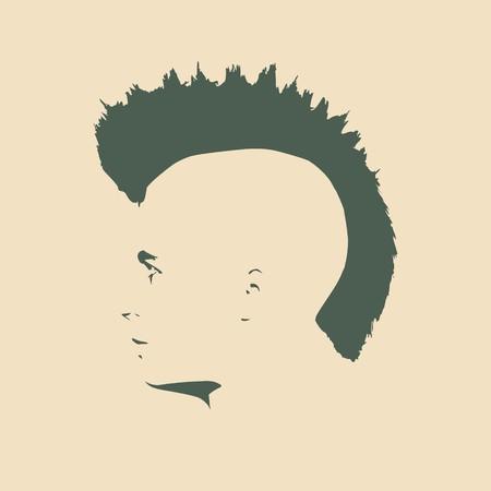 男アバター プロフィール。分離のオスの顔シルエットまたはアイコン。ベクトルの図。モヒカン刈りのヘアスタイル