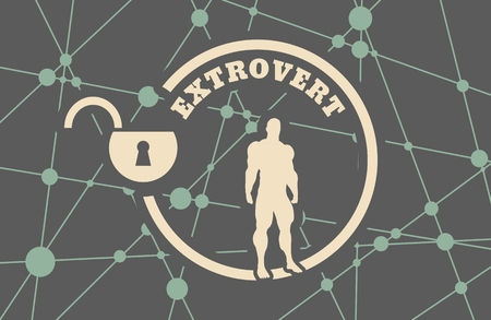 intuitive: extrovert simple icon metaphor. image relative to human psychology. muscular man in the locked circle. Molecule And Communication Background. Connected lines with dots.