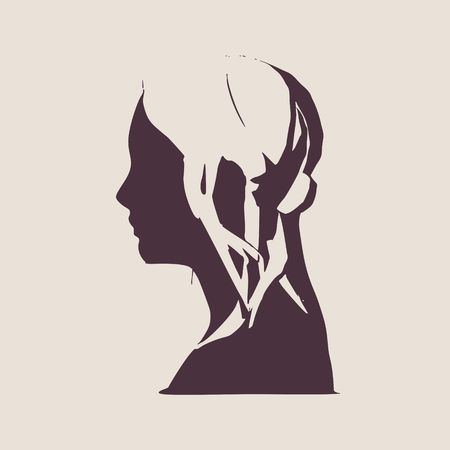 Face side view. Elegant silhouette of a female head. Vector Illustration. Long curly hair. Monochrome gamma. Illustration