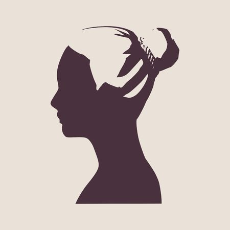 face side view elegant silhouette of a female head vector illustrationbun hair