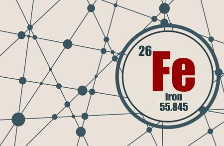 Iron chemical element. Sign with atomic number and atomic weight. Chemical element of periodic table. Molecule And Communication Background. Connected lines with dots.