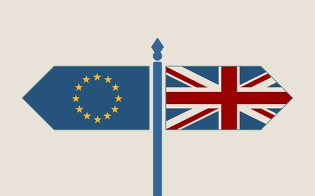 diplomacy: Image relative to politic situation between great britain and european union. Politic process named as brexit. National flags on destination arrow road Illustration