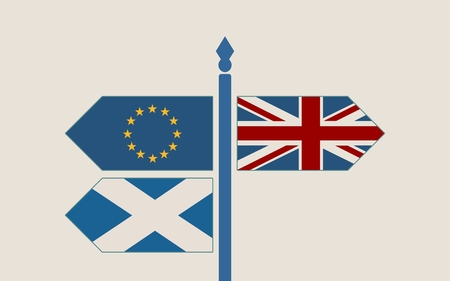 Image relative to politic situation between scotland, great britain and european union. Politic process named as brexit. National flags on destination arrow road Illustration