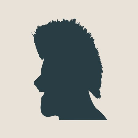 iroquois: Man avatar profile view. Isolated male face silhouette or icon . Vector illustration. Wide open mouth. Mohawk hairstyle
