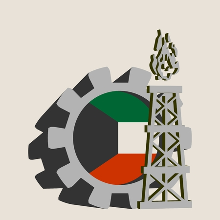 Gear with gas rig simple icon, textured by Kuwait flag. Heavy and mining industry concept. 3D vector icons Illustration