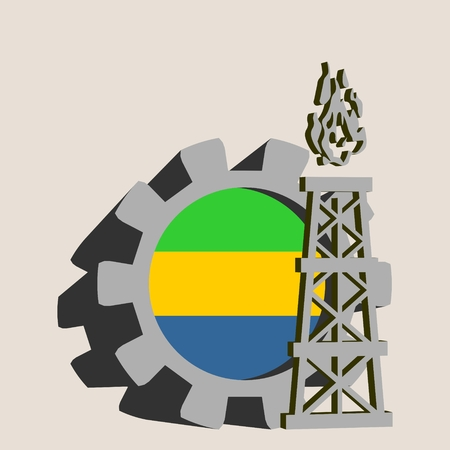 Gear with gas rig simple icon, textured by Gabon flag. Heavy and mining industry concept. 3D vector icons