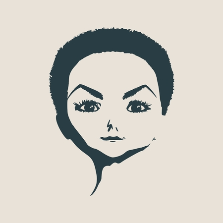 Little Girl Front View Silhouette. Vector Illustration. Cute adolescent girl portrait. Illustration