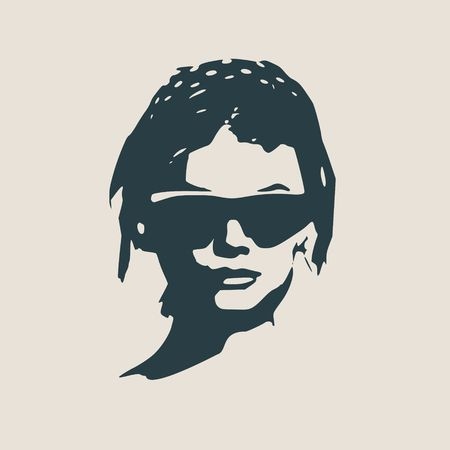 Portrait of beautiful woman in black sunglasses. Short hair. Vector version. Front view Illustration