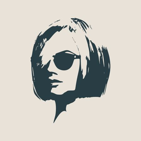 vintage fashion: Portrait of beautiful woman in black sunglasses. Short hair. Vector version. Half turn view.