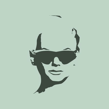 Portrait of beautiful woman in black sunglasses short hair vector version front view. Illustration