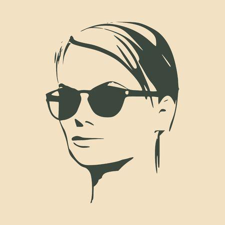 Portrait of beautiful woman in black sunglasses. Short hair. Vector version. Half turn view.
