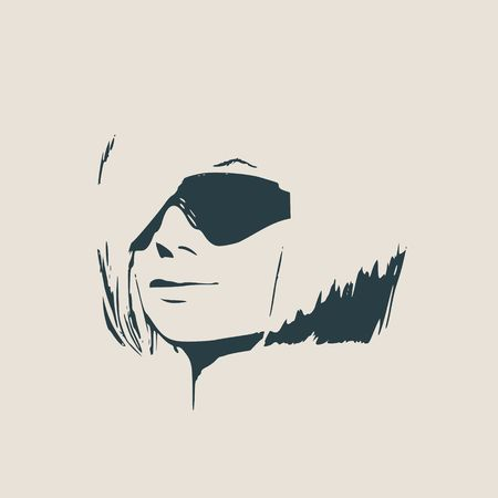 Portrait of beautiful woman in black sunglasses short hair Vector version half turn view.
