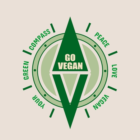 Vegan Emblem Concept Fresh Healthy Organic Vegan Food Illustration
