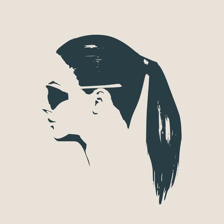 Portrait der schönen Frau in schwarzen Sonnenbrille Pony Schwanz Haar Stil Vektor Version Seitenansicht. Standard-Bild - 75568804