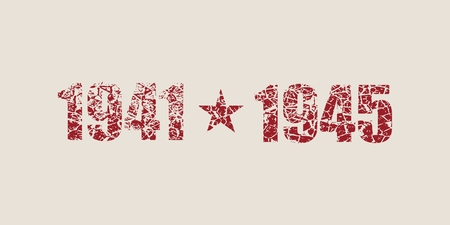 May 9 Russian holiday Victory Day background template happy victory day 1941 and 1945 cracked numbers.