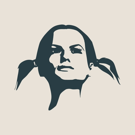 Face front view. Elegant silhouette of a female head. Vector Illustration. Pigtails hair style. Monochrome gamma.