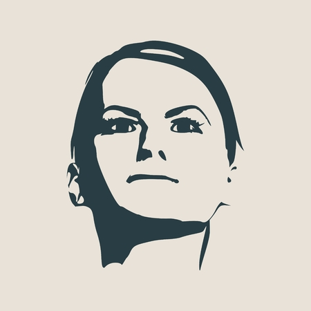gamma: Face front view. Elegant silhouette of a female head. Vector Illustration. Short hair. Monochrome gamma.