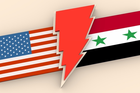 syria peace: Image relative to politic situation between USA and Syria. National flags divided by red lighting. 3D rendering
