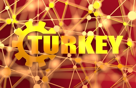 Turkey word build in gear. Heavy industry relative image. Molecule And Communication Background. brochure or report design template. Connected lines with dots. 3D rendering. Metallic material