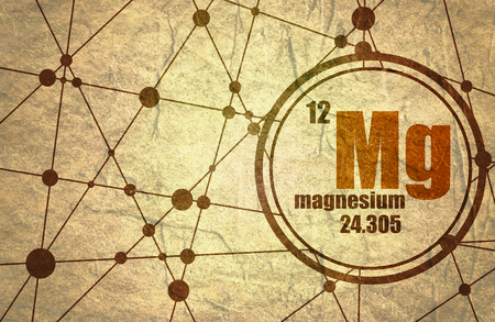 atomic symbol: Magnesium chemical element. Sign with atomic number and atomic weight. Chemical element of periodic table. Molecule And Communication Background. Connected lines with dots. Grunge texture