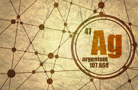 atomic number: silver chemical element. Sign with atomic number and atomic weight. Chemical element of periodic table. Molecule And Communication Background. Connected lines with dots. Grunge texture Stock Photo
