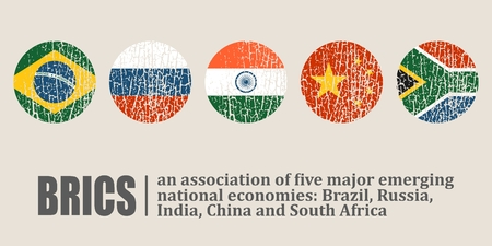 BRICS - association of five major emerging national economies. Brazil, Russia, India, China and South Africa flags icons. Trade union. Illustration