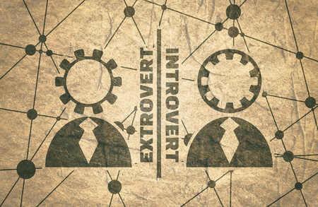 extrovert vs introvert simple icon metaphor. image relative to human psychology. Molecule And Communication Background. Connected lines with dots. Grunge concrete texture Stockfoto