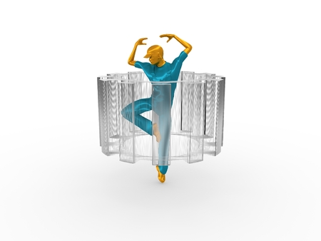 wire: Young man wearing apron. Worker model dancing at the center of the wire frame gear. 3D rendering. Metallic material. Stock Photo