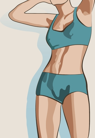 Beautiful sexy fitness girl. Pretty fit woman posing. Vector illustration. Blue swimsuit