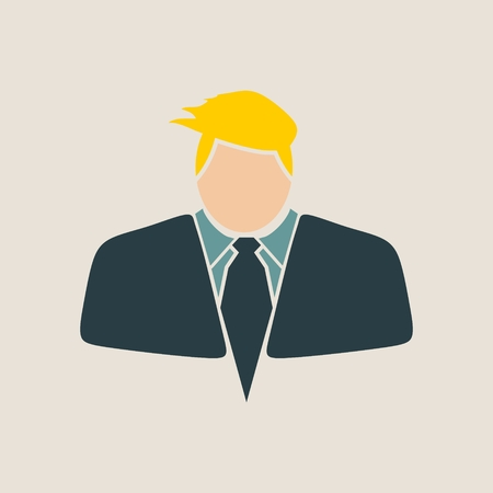 comb: Businessman in suit icon. Comb hair style