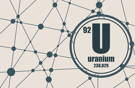 uranium: Uranium chemical element. Sign with atomic number and atomic weight. Chemical element of periodic table. Molecule And Communication Background. Connected lines with dots.