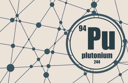 plutonium: Plutonium chemical element. Sign with atomic number and atomic weight. Chemical element of periodic table. Molecule And Communication Background. Connected lines with dots. Illustration