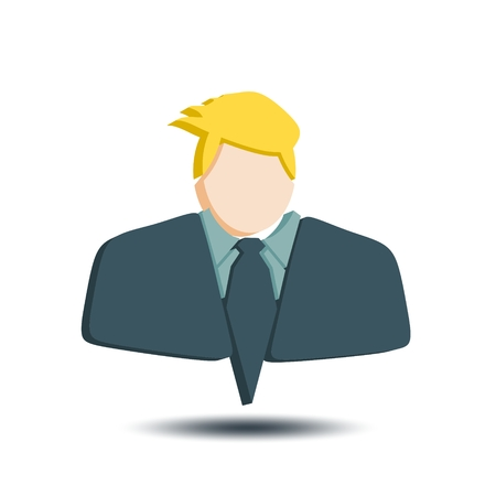Businessman in suit icon. Comb hair style