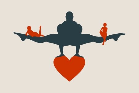Muscular man balancing on heart icon. Vector silhouette. Woman icons on the legs of the man.