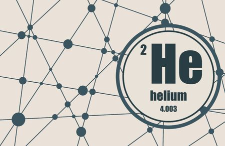 atomic number: Helium chemical element. Sign with atomic number and atomic weight. Illustration