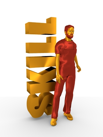 chrome man: Young man wearing apron. Bearded worker at skill word. 3D rendering. Metallic material.