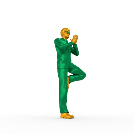 chrome man: Businessman folded his hands in prayer. Portrait of businessman in yoga pose. 3D rendering. Bearded man wearing the sunglasses