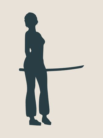 strong: Karate martial art silhouette of woman in sword fight karate pose Illustration