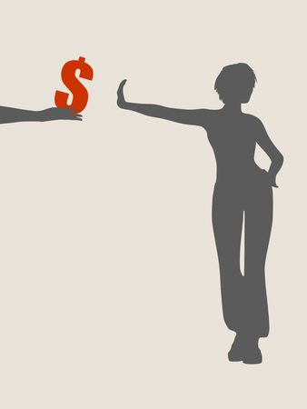 denial: A young woman holding her hand in front to show stop gesture and rejects money. Vector illustration Illustration