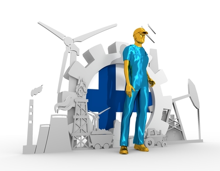 chrome man: Young man wearing apron. Bearded worker at industrial isometric icons set with Finland flag. 3D rendering. Metallic material. Energy generation and heavy industry.