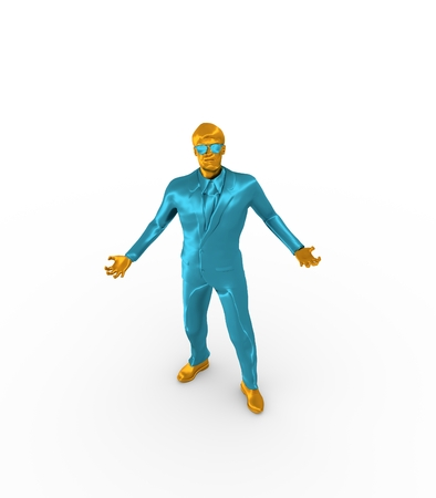 chrome man: Businessman in wizard pose. 3D rendering. Bearded man wearing the sunglasses