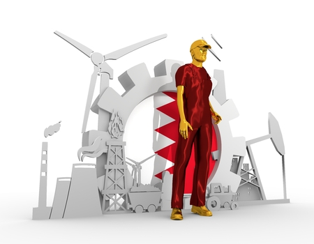 chrome man: Young man wearing apron. Bearded worker at industrial isometric icons set with Bahrain flag. 3D rendering. Metallic material. Energy generation and heavy industry.