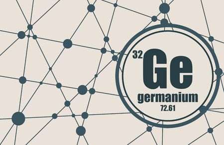 Germanium chemical element. Sign with atomic number and atomic weight. Chemical element of periodic table. Molecule And Communication Background. Connected lines with dots.