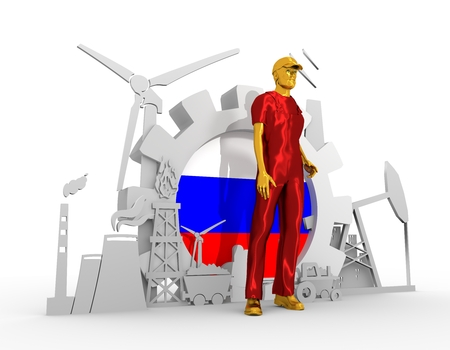 chrome man: Young man wearing apron. Bearded worker at industrial isometric icons set with Russia flag. 3D rendering. Metallic material. Energy generation and heavy industry. Stock Photo