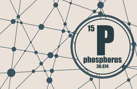 Élément chimique phosphore. Signe avec numéro atomique et poids atomique. Élément chimique du tableau périodique. Molécule et arrière-plan de la communication. Lignes connectées avec des points. Vecteurs