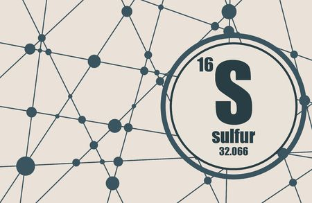Sulfur Chemical Element Sign With Atomic Number And Atomic Weight