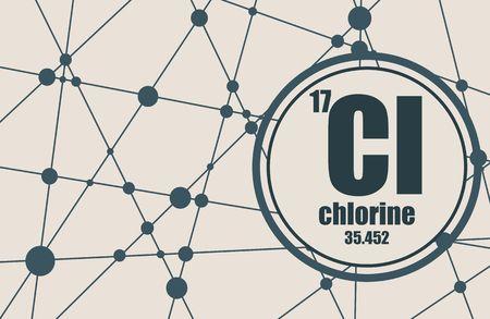 Chloor chemisch element. Bord met atoomnummer en atoomgewicht. Chemisch element van het periodiek systeem. Molecuul en communicatie achtergrond. Verbonden lijnen met stippen. Vector Illustratie
