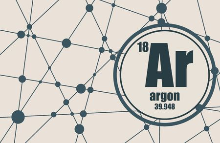 argon: Argon chemical element. Sign with atomic number and atomic weight. Chemical element of periodic table. Molecule And Communication Background. Connected lines with dots. Illustration