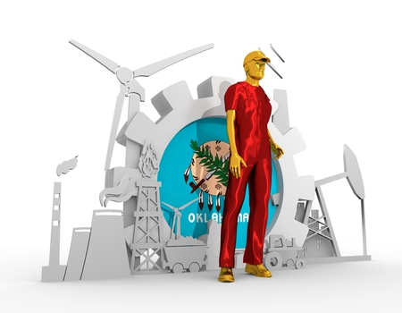 chrome man: Young man wearing apron. Bearded worker at industrial isometric icons set with Oklahoma flag. 3D rendering. Metallic material. Energy generation and heavy industry. Stock Photo